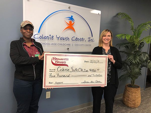 Stewart's Shops presenting Holiday Match check to Colonie Youth Center