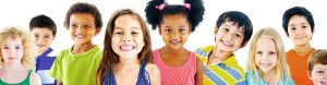 smiling kids of various races and genders
